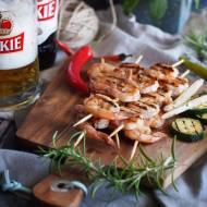 Grillowane krewetki w glazurze miodowo-piwnej / Grilled shrimp with honey-beer glaze