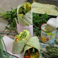 Tortille z pastą jajeczną , szparagami i kukurydzą Bonduelle