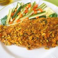 Filety pstrąga łososiowego pieczone w panierce z cukinią i marchewką (Filetti di trota salmonata gratinati con zucchine e carote