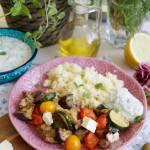 Grillowane warzywa z kurczakiem i kaszą kuskus
