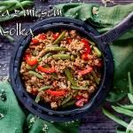 Kasza jaglana z mięsem mielonym, zieloną fasolką szparagową i papryką