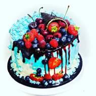 Smerfowy tort owocowy
