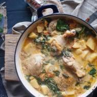 Kurczak duszony z młodymi ziemniakami i szpinakiem / Braised chicken with baby potatoes and spinach