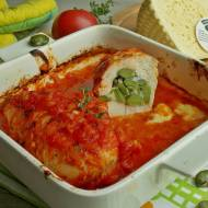 Pieczony kurczak z bobem i serem korycińskim