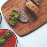 Pasty kanapkowe: pasta zgroszku ipasta zpieczonej papryki
