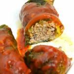 Gołąbki z mięsem kaczki zapiekane w sosie bolońskim