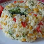 Kopczyki ryżowe z dodatkiem papryki i brokułów