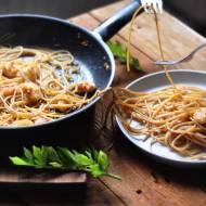 Spaghetti z czosnkowymi krewetkami