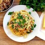 Makaron z kurkami i mascarpone