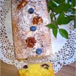 Ciasto z borówkami i orzechami włoskimi w karmelu (bez miksera)