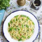 Spaghetti z zieloną fasolką szparagową