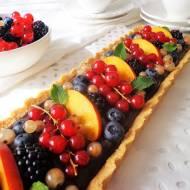 Kokosowa tarta z kremem czekoladowym i owocami, bez pieczenia (Crostata di cocco con crema al cioccolato e frutta fresca senza c