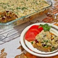 Zapiekanka z kaszy perłowej z mięsem i warzywami