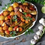 Udka kurczaka pieczone z warzywami w rękawie
