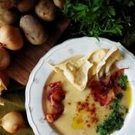 Zupa krem z młodych ziemniaków i quinoy z wędzoną papryką, papadamem i chipsami z szynki