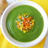 Chłodnik z cukinii z kolorowymi warzywami (Crema fredda alle zucchine e verdure colorate)