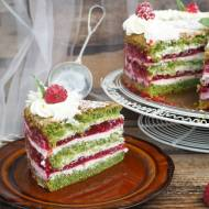 Szpinakowy tort z mascarpone i malinami