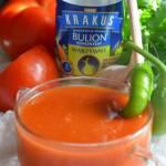 Czosnkowa zupa ze świeżych pomidorów i chili