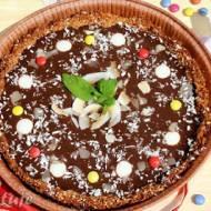 Tarta kokosowo-migdałowa z kremem czekoladowym (spód bez cukru, mąki, masła i jajek)