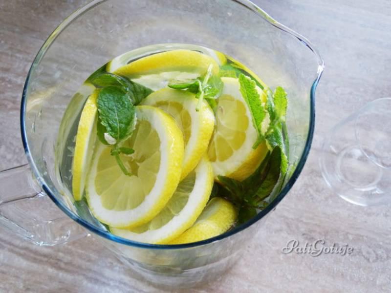 Klasyczna woda z cytryną i miętą