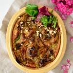 Wytrawne clafoutis z kwiatami cukinii i pleśniowym serem (okiszowe)