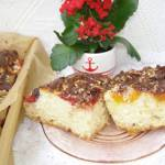 drożdżowe ciasto śliwkowo-morelowe z kokosem i polewą czekoladową..