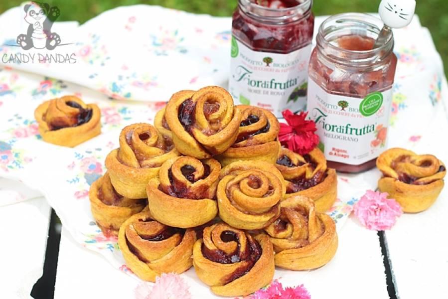 Orkiszowo-owsiane różyczki nadziane konfiturą jeżynową i z owoców grantu (bez cukru białego, laktozy, wegańskie)