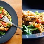 Makaron z pieczonymi pomidorami, kurczakiem i rukolą (6 składników)