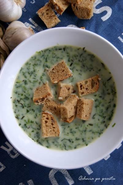 Zupa czosnkowa ze szpinakiem
