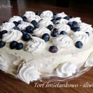 Tort śmietankowo - śliwkowy
