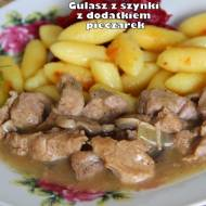 Gulasz z szynki z dodatkiem pieczarek (danie z szybkowaru)