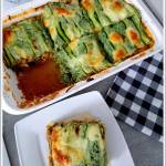 Lasagne cukiniowa z sosem bolońskim i szpinakiem