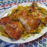 Udka z kurczaka w miodowo-musztardowej marynacie z warzywami-proste i pyszne