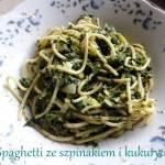 Spaghetti ze szpinakiem i kukurydzą