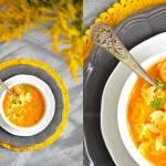 Zupa z soczewicą, świeżymi pomidorami, imbirem i makaronem
