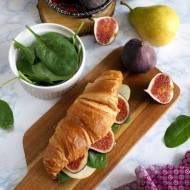 Croissant z cheddarem, szpinakiem, figą i gruszką