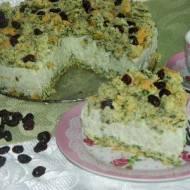 Ciasto szpinakowe z nasionami chia, mleczkiem kokosowym i suszoną żurawiną
