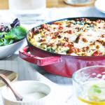 Szarpane lasagne z kurczakiem, boczkiem i jarmużem