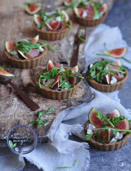 Orkiszowe tartaletki z figami i gorgonzolą