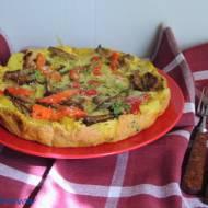 Omlet ziemniaczany z boczniakami i pieczoną papryką