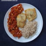 Ryba w cieście z potrawką z warzyw i soi