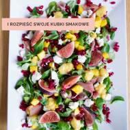 Pełna kolorów sałatka z figami i sosem z mango i musztardy