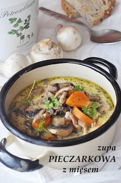 Zupa pieczarkowa z mięsem mielonym