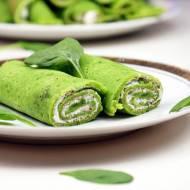 Zielone naleśniki szpinakowe z twarożkiem