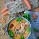 Zupa krem z marchewki z krewetkami