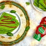 Szpinakowe naleśniki 'choinki' na ciepło- z serem, wędliną i ketchupem