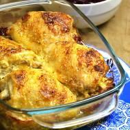 Zapiekany kurczak na boczku i ziemniakach
