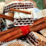 Wafle czekoladowe z cynamonem (masa z mlekiem w proszku)