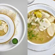 Zupa z dorszem, ryżem i duszonym porem