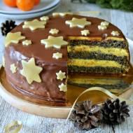 Tort makowo - ajerkoniakowy z nutą cytrusową